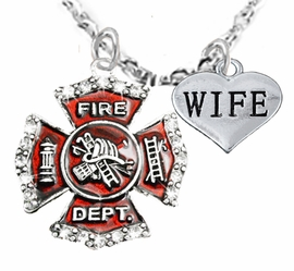 "<Br>WHOLESALE FIREFIGHTER MALTESE CROSS JEWELRY  <BR>                             AN ALLAN ROBIN DESIGN!! <Br>                    CADMIUM, LEAD & NICKEL FREE!!  <Br>     W1284-1876B1  ""FIREFIGHTER  WIFE"" HEART  <BR>      CHARMS ON ADJUSTABLE CHAIN NECKLACE<BR>                      FROM $7.50 TO $9.50 �2016"
