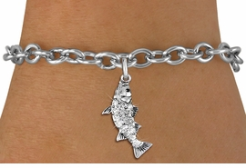 <BR>   WHOLESALE FISHING CHARM JEWELRY <bR>                 EXCLUSIVELY OURS!! <Br>            AN ALLAN ROBIN DESIGN!! <BR>   CLICK HERE TO SEE 1000+ EXCITING <BR>         CHANGES THAT YOU CAN MAKE! <BR>      LEAD, NICKEL & CADMIUM FREE!! <BR> W1506SB - SILVER TONE AND AUSTRIAN <BR>    CLEAR CRYSTAL BASS FISH CHARM <BR>   BRACELET FROM $5.15 TO $9.00 �2013