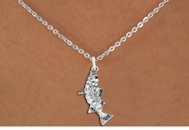 <BR>      WHOLESALE FISHING CHARM NECKLACE <bR>                    EXCLUSIVELY OURS!! <Br>               AN ALLAN ROBIN DESIGN!! <BR>      CLICK HERE TO SEE 1000+ EXCITING <BR>            CHANGES THAT YOU CAN MAKE! <BR>         LEAD, NICKEL & CADMIUM FREE!! <BR>     W1506SN - SILVER TONE AND GENUINE <BR>     AUSTRIAN CRYSTAL BASS FISH CHARM  <BR>    NECKLACE FROM $5.90 TO $9.35 �2013
