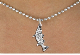 <BR>      WHOLESALE FISHING CHARM NECKLACE <bR>                    EXCLUSIVELY OURS!! <Br>               AN ALLAN ROBIN DESIGN!! <BR>      CLICK HERE TO SEE 1000+ EXCITING <BR>            CHANGES THAT YOU CAN MAKE! <BR>         LEAD, NICKEL & CADMIUM FREE!! <BR>     W1506SN - SILVER TONE AND GENUINE <BR>     AUSTRIAN CRYSTAL BASS FISH CHARM  <BR>    NECKLACE FROM $5.55 TO $9.00 �2013