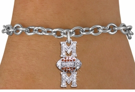 "<BR> WHOLESALE FOOTBALL CHARM BRACELET <bR>                 EXCLUSIVELY OURS!! <Br>            AN ALLAN ROBIN DESIGN!! <BR>   CLICK HERE TO SEE 1000+ EXCITING <BR>         CHANGES THAT YOU CAN MAKE! <BR>      LEAD, NICKEL & CADMIUM FREE!! <BR> W1476SB - SILVER TONE FOOTBALL ""MOM"" <BR> CLEAR & TOPAZ CRYSTAL CHARM BRACELET <BR>          FROM $5.40 TO $9.85 �2013"