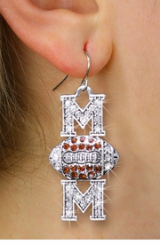 "<BR>  WHOLESALE FOOTBALL CHARM EARRINGS <bR>                 EXCLUSIVELY OURS!! <Br>            AN ALLAN ROBIN DESIGN!! <BR>      LEAD, NICKEL & CADMIUM FREE!! <BR> W1476SE - SILVER TONE FOOTBALL ""MOM"" <BR> CLEAR & TOPAZ CRYSTAL CHARM EARRINGS <BR>         FROM $5.40 TO $10.45 �2013"