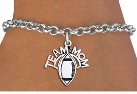 "<br> WHOLESALE FOOTBALL CHARM JEWELRY <bR>                     EXCLUSIVELY OURS!! <BR>                AN ALLAN ROBIN DESIGN!! <BR>       CLICK HERE TO SEE 1000+ EXCITING <BR>             CHANGES THAT YOU CAN MAKE! <BR>          CADMIUM, LEAD & NICKEL FREE!! <BR>        W1488SB - DETAILED SILVER TONE <Br> ""TEAM MOM"" FOOTBALL CHARM & BRACELET <BR>              FROM $4.15 TO $8.00 �2013"