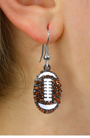<Br> WHOLESALE FOOTBALL FASHION EARRINGS <BR>     LEAD, NICKEL AND CADMIUM FREE!! <Br> W20625E - TOPAZ TONE CRYSTAL AND WHITE <BR>     FILLED STRIPE FOOTBALL EARRINGS <Br>          FROM $4.50 TO $10.00 �2013