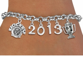 "<br>    WHOLESALE HOCKEY CHARM JEWELRY!<Br>                      EXCLUSIVELY OURS!! <Br>                 AN ALLAN ROBIN DESIGN!! <Br>                    LEAD & NICKEL FREE!! <BR>             THIS IS A PERSONALIZED ITEM <Br>     W20479B - SILVER TONE LOBSTER CLASP <BR> ""HOCKEY ROCKS"", #1 TROPHY AND CUSTOM <BR> YEAR BRACELET FROM $9.00 TO $20.00 �2013"