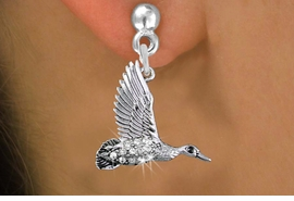 <BR>  WHOLESALE HUNTING FASHION EARRINGS <bR>               EXCLUSIVELY OURS!! <Br>          AN ALLAN ROBIN DESIGN!! <BR>    LEAD, NICKEL & CADMIUM FREE!! <BR>  W1505SE - SILVER TONE AND GENUINE <BR>  AUSTRIAN CRYSTAL FLYING DUCK CHARM <BR>  EARRINGS FROM $5.40 TO $10.45 �2013