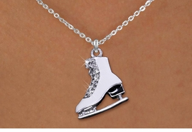 <br>         WHOLESALE  ICE  SKATING JEWELRY<bR>                   LEAD & NICKEL FREE!! <BR>      W20299N - SILVER TONE AND CRYSTAL <BR>       ICE SKATE ON CHAIN LINK NECKLACE <BR>             FROM $5.63 TO $12.50 �2013