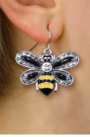 <BR>      WHOLESALE INSECT JEWELRY <bR>              EXCLUSIVELY OURS!! <Br>         AN ALLAN ROBIN DESIGN!! <BR>   LEAD, NICKEL & CADMIUM FREE!! <BR>  W1439SE - SILVER TONE WITH CLEAR <BR> CRYSTAL BUMBLEBEE CHARM EARRINGS <BR>      FROM $5.40 TO $10.45 �2013