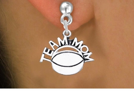 "<br> WHOLESALE JEWELRY - HOCKEY EARRINGS <bR>                  EXCLUSIVELY OURS!! <BR>             AN ALLAN ROBIN DESIGN!! <BR>       CADMIUM, LEAD & NICKEL FREE!! <BR>      W1489SE - DETAILED SILVER TONE <Br> ""TEAM MOM"" HOCKEY CHARM EARRINGS <BR>           FROM $3.65 TO $8.40 �2013"
