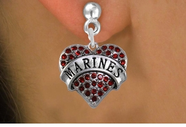 "<BR>  WHOLESALE MARINE EARRINGS <bR>              EXCLUSIVELY OURS!! <Br>         AN ALLAN ROBIN DESIGN!! <BR>   LEAD, NICKEL & CADMIUM FREE!! <BR>  W1478SE - SILVER TONE ""MARINES"" <BR> RED CRYSTAL HEART CHARM EARRINGS <BR>      FROM $5.40 TO $10.45 �2013"