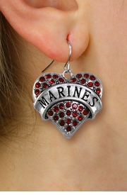 "<BR>  WHOLESALE MARINES CHARM EARRINGS <bR>              EXCLUSIVELY OURS!! <Br>         AN ALLAN ROBIN DESIGN!! <BR>   LEAD, NICKEL & CADMIUM FREE!! <BR>  W1478SE - SILVER TONE ""MARINES"" <BR> RED CRYSTAL HEART CHARM EARRINGS <BR>      FROM $5.40 TO $10.45 �2013"
