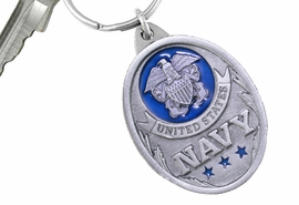"""<Br>      WHOLESALE MILITARY KEY CHAINS <BR>               LEAD & NICKEL FREE!! <Br>    W20562KC - """"UNITED STATES NAVY"""" <Br>   PEWTER AND BLUE ENAMEL KEY CHAIN <Br>         FROM $4.73 TO $10.50 �2013"""