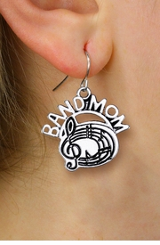"<br>      WHOLESALE MUSIC CHARM EARRINGS <bR>                  EXCLUSIVELY OURS!! <BR>             AN ALLAN ROBIN DESIGN!! <BR>       CADMIUM, LEAD & NICKEL FREE!! <BR>      W1485SE - DETAILED SILVER TONE <Br> ""BAND MOM"" BAND / CHOIR CHARM EARRINGS <BR>           FROM $3.65 TO $8.40 �2013"