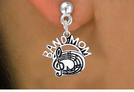 "<br>         WHOLESALE MUSIC EARRINGS <bR>                  EXCLUSIVELY OURS!! <BR>             AN ALLAN ROBIN DESIGN!! <BR>       CADMIUM, LEAD & NICKEL FREE!! <BR>      W1485SE - DETAILED SILVER TONE <Br> ""BAND MOM"" BAND / CHOIR CHARM EARRINGS <BR>           FROM $3.65 TO $8.40 �2013"