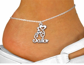 "<bR>      WHOLESALE NAVY ANKLET JEWELRY <BR>                   EXCLUSIVELY OURS!! <BR>              AN ALLAN ROBIN DESIGN!! <BR>        CADMIUM, LEAD & NICKEL FREE!! <BR>     W1499SAK - BEAUTIFUL SILVER TONE <Br>    ""I LOVE MY SAILOR"" CHARM & ANKLET <BR>            FROM $3.35 TO $8.00 �2013"