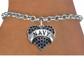"<BR>  WHOLESALE NAVY BRACELET JEWELRY <bR>                EXCLUSIVELY OURS!! <Br>           AN ALLAN ROBIN DESIGN!! <BR>  CLICK HERE TO SEE 1000+ EXCITING <BR>        CHANGES THAT YOU CAN MAKE! <BR>     LEAD, NICKEL & CADMIUM FREE!! <BR>  W1479SB - SILVER TONE ""MARINES"" <BR> NAVY CRYSTAL HEART CHARM & BRACELET <BR>         FROM $5.15 TO $9.00 �2013"