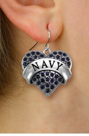 "<BR>  WHOLESALE NAVY CHARM EARRINGS <bR>              EXCLUSIVELY OURS!! <Br>         AN ALLAN ROBIN DESIGN!! <BR>   LEAD, NICKEL & CADMIUM FREE!! <BR>  W1479SE - SILVER TONE ""NAVY"" NAVY <BR>    CRYSTAL HEART CHARM EARRINGS <BR>      FROM $5.40 TO $10.45 �2013"