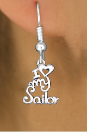 "<br>        WHOLESALE NAVY EARRINGS <bR>                 EXCLUSIVELY OURS!! <BR>            AN ALLAN ROBIN DESIGN!! <BR>      CADMIUM, LEAD & NICKEL FREE!! <BR>    W1499SE - BEAUTIFUL SILVER TONE <Br>  ""I LOVE MY SAILOR"" CHARM EARRINGS <BR>          FROM $3.65 TO $8.40 �2013"
