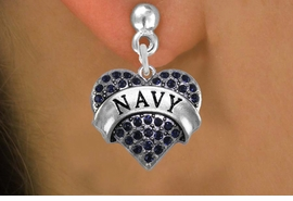 "<BR>      WHOLESALE NAVY EARRINGS <bR>              EXCLUSIVELY OURS!! <Br>         AN ALLAN ROBIN DESIGN!! <BR>   LEAD, NICKEL & CADMIUM FREE!! <BR>  W1479SE - SILVER TONE ""NAVY"" NAVY <BR>    CRYSTAL HEART CHARM EARRINGS <BR>      FROM $5.40 TO $10.45 �2013"