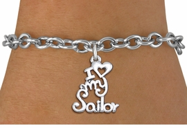 "<br>      WHOLESALE NAVY FASHION BRACELET <bR>                    EXCLUSIVELY OURS!!<BR>               AN ALLAN ROBIN DESIGN!!<BR>      CLICK HERE TO SEE 1000+ EXCITING<BR>            CHANGES THAT YOU CAN MAKE!<BR>         CADMIUM, LEAD & NICKEL FREE!!<BR>     W1499SB - BEAUTIFUL SILVER TONE <Br> ""I LOVE MY SAILOR"" CHARM & BRACELET <BR>             FROM $4.50 TO $8.35 �2013"