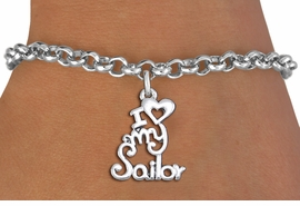 "<br>      WHOLESALE NAVY FASHION BRACELET <bR>                    EXCLUSIVELY OURS!!<BR>               AN ALLAN ROBIN DESIGN!!<BR>      CLICK HERE TO SEE 1000+ EXCITING<BR>            CHANGES THAT YOU CAN MAKE!<BR>         CADMIUM, LEAD & NICKEL FREE!!<BR>     W1499SB - BEAUTIFUL SILVER TONE <Br> ""I LOVE MY SAILOR"" CHARM & BRACELET <BR>             FROM $4.15 TO $8.00 �2013"