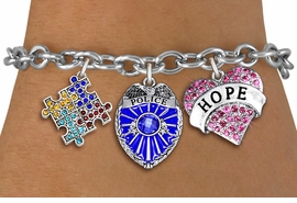"<BR>      WHOLESALE POLICE JEWELRY<bR>             LEAD & NICKEL FREE!! <BR> LARGE, BEAUTIFUL, CRYSTAL CHARMS <BR> W20248B - CRYSTAL POLICE BADGE, ""HOPE"" <BR> HEART, AND AUSTISM AWARENESS PUZZLE <BR>  CHARMS ON TOGGLE CLASP BRACELET <BR>      FROM $9.56 TO $21.25 �2013"