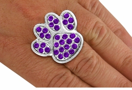 <BR>      WHOLESALE PURPLE PAW RING<Br>            LEAD & NICKEL FREE!! <Br> W20181R - SILVER TONE & GENIUNE <BR> AUSTRIAN FACETED PURPLE CRYSTAL <Br>    LARGE PAW PRINT STRETCH RING <BR>            FROM $5.63 TO $12.50