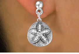 <BR>      WHOLESALE SAND DOLLAR EARRING<bR>              EXCLUSIVELY OURS!! <Br>         AN ALLAN ROBIN DESIGN!! <BR>   LEAD, NICKEL & CADMIUM FREE!! <BR> W1422SE - SILVER TONE SAND DOLLAR <BR>   CLEAR CRYSTALS CHARM EARRINGS <BR>      FROM $4.95 TO $10.00 �2013
