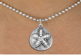 <BR>      WHOLESALE SAND DOLLAR NECKLACE<bR>                EXCLUSIVELY OURS!! <Br>           AN ALLAN ROBIN DESIGN!! <BR>  CLICK HERE TO SEE 1000+ EXCITING <BR>        CHANGES THAT YOU CAN MAKE! <BR>     LEAD, NICKEL & CADMIUM FREE!! <BR> W1422SN - SILVER TONE SAND DOLLAR <BR>  CLEAR CRYSTAL CHARM AND NECKLACE <BR>         FROM $5.40 TO $9.85 �2013