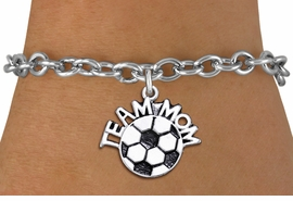"<br>      WHOLESALE SOCCER CHARM BRACELET <bR>                     EXCLUSIVELY OURS!! <BR>                AN ALLAN ROBIN DESIGN!! <BR>       CLICK HERE TO SEE 1000+ EXCITING <BR>             CHANGES THAT YOU CAN MAKE! <BR>          CADMIUM, LEAD & NICKEL FREE!! <BR>        W1490SB - DETAILED SILVER TONE <Br> ""TEAM MOM"" SOCCER CHARM & BRACELET <BR>              FROM $4.50 TO $8.35 �2013"