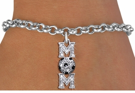 "<BR>  WHOLESALE SOCCER CHARM BRACELET <bR>                 EXCLUSIVELY OURS!! <Br>            AN ALLAN ROBIN DESIGN!! <BR>   CLICK HERE TO SEE 1000+ EXCITING <BR>         CHANGES THAT YOU CAN MAKE! <BR>      LEAD, NICKEL & CADMIUM FREE!! <BR> W1474SB - SILVER TONE SOCCER ""MOM"" <BR>     CLEAR CRYSTAL CHARM & BRACELET <BR>          FROM $5.15 TO $9.00 �2013"