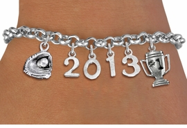<br>  WHOLESALE SOFTBALL BASEBALL BRACELETS! <Br>                      EXCLUSIVELY OURS!! <Br>                 AN ALLAN ROBIN DESIGN!! <Br>                    LEAD & NICKEL FREE!! <BR>             THIS IS A PERSONALIZED ITEM <Br>     W20461B - SILVER TONE LOBSTER CLASP <BR> GLOVE WITH BALL, #1 TROPHY AND CUSTOM YEAR <BR>       BRACELET FROM $9.00 TO $20.00 �2013