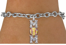 "<BR> WHOLESALE SOFTBALL CHARM BRACELET <bR>                EXCLUSIVELY OURS!! <Br>           AN ALLAN ROBIN DESIGN!! <BR>  CLICK HERE TO SEE 1000+ EXCITING <BR>        CHANGES THAT YOU CAN MAKE! <BR>     LEAD, NICKEL & CADMIUM FREE!! <BR> W1471SB - SILVER TONE SOFTBALL ""MOM"" <BR> CLEAR & YELLOW CRYSTAL CHARM & BRACELET <BR>         FROM $5.40 TO $9.85 �2013"