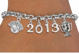 "<br>   WHOLESALE SOFTBALL CHARM BRACELETS! <Br>                      EXCLUSIVELY OURS!! <Br>                 AN ALLAN ROBIN DESIGN!! <Br>                    LEAD & NICKEL FREE!! <BR>             THIS IS A PERSONALIZED ITEM <Br>     W20459B - SILVER TONE LOBSTER CLASP <BR>   ""SOFTBALL"" AND #1 TROPHY, CUSTOM YEAR <BR>       BRACELET FROM $9.00 TO $20.00 �2013"