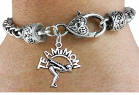 "<bR>    WHOLESALE SWIM TEAM CHARM BRACELET <BR>                     EXCLUSIVELY OURS!! <BR>                AN ALLAN ROBIN DESIGN!! <BR>          CADMIUM, LEAD & NICKEL FREE!! <BR>        W1482SB - DETAILED SILVER TONE  <BR> ""TEAM MOM"" SWIMMING CHARM & HEART CLASP <BR>      BRACELET FROM $3.94 TO $8.75 �2013"