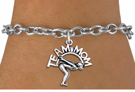 "<br>  WHOLESALE SWIMMING BRACELET FOR MOM <bR>                    EXCLUSIVELY OURS!!<BR>               AN ALLAN ROBIN DESIGN!!<BR>      CLICK HERE TO SEE 1000+ EXCITING<BR>            CHANGES THAT YOU CAN MAKE!<BR>         CADMIUM, LEAD & NICKEL FREE!!<BR>       W1482SB - DETAILED SILVER TONE <Br> ""TEAM MOM"" SWIMMING CHARM & BRACELET <BR>             FROM $4.50 TO $8.35 �2013"