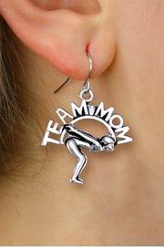 "<br>  WHOLESALE SWIMMING CHARM EARRINGS <bR>                 EXCLUSIVELY OURS!! <BR>            AN ALLAN ROBIN DESIGN!! <BR>      CADMIUM, LEAD & NICKEL FREE!! <BR>     W1482SE - DETAILED SILVER TONE <Br> ""TEAM MOM"" SWIMMING CHARM EARRINGS <BR>          FROM $3.65 TO $8.40 �2013"