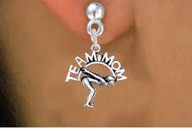 "<br>  WHOLESALE SWIMMING EARRINGS <bR>                 EXCLUSIVELY OURS!! <BR>            AN ALLAN ROBIN DESIGN!! <BR>      CADMIUM, LEAD & NICKEL FREE!! <BR>     W1482SE - DETAILED SILVER TONE <Br> ""TEAM MOM"" SWIMMING CHARM EARRINGS <BR>          FROM $3.65 TO $8.40 �2013"