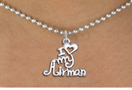 "<br>WHOLESALE US AIR FORCE NECKLACE JEWELRY <bR>                   EXCLUSIVELY OURS!! <BR>              AN ALLAN ROBIN DESIGN!! <BR>     CLICK HERE TO SEE 1000+ EXCITING <BR>           CHANGES THAT YOU CAN MAKE! <BR>        CADMIUM, LEAD & NICKEL FREE!! <BR>     W1501SN - BEAUTIFUL SILVER TONE <BR>    ""I LOVE MY AIRMAN"" CHARM & NECKLACE <BR>             FROM $4.85 TO $8.30 �2013"