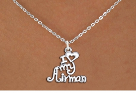 "<br>WHOLESALE US AIR FORCE NECKLACE JEWELRY <bR>                   EXCLUSIVELY OURS!! <BR>              AN ALLAN ROBIN DESIGN!! <BR>     CLICK HERE TO SEE 1000+ EXCITING <BR>           CHANGES THAT YOU CAN MAKE! <BR>        CADMIUM, LEAD & NICKEL FREE!! <BR>     W1501SN - BEAUTIFUL SILVER TONE <BR>    ""I LOVE MY AIRMAN"" CHARM & NECKLACE <BR>             FROM $4.55 TO $8.00 �2013"