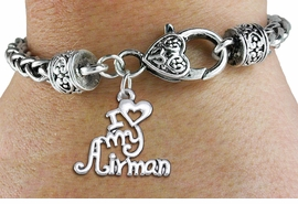 "<bR>       WHOLESALE USAF CHARM BRACELET <BR>                     EXCLUSIVELY OURS!! <BR>                AN ALLAN ROBIN DESIGN!! <BR>          CADMIUM, LEAD & NICKEL FREE!! <BR>        W1501SB - BEAUTIFUL SILVER TONE  <BR>  ""I LOVE MY AIRMAN"" CHARM & HEART CLASP <BR>      BRACELET FROM $4.64 TO $8.75 �2013"