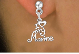 "<br>        WHOLESALE USMC EARRINGS <bR>                 EXCLUSIVELY OURS!! <BR>            AN ALLAN ROBIN DESIGN!! <BR>      CADMIUM, LEAD & NICKEL FREE!! <BR>    W1500SE - BEAUTIFUL SILVER TONE <Br>  ""I LOVE MY MARINE"" CHARM EARRINGS <BR>          FROM $3.65 TO $8.40 �2013"