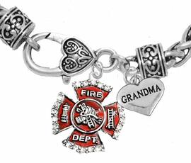 "<Br>              WHOLESALE FIREFIGHTER JEWELRY  <BR>                         AN ALLAN ROBIN DESIGN!! <Br>                   CADMIUM, LEAD & NICKEL FREE!!  <Br> W1284-1832B1  ""FIREFIGHTER  GRANDMA"" HEART  <BR>  CHARMS ON HEART LOBSTER CLASP BRACELET <BR>            FROM $7.50 TO $9.50 �2016"