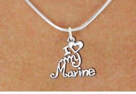 "<br>   WHOLESALE USMC NECKLACE JEWELRY <bR>                   EXCLUSIVELY OURS!! <BR>              AN ALLAN ROBIN DESIGN!! <BR>     CLICK HERE TO SEE 1000+ EXCITING <BR>           CHANGES THAT YOU CAN MAKE! <BR>        CADMIUM, LEAD & NICKEL FREE!! <BR>     W1500SN - BEAUTIFUL SILVER TONE <BR>    ""I LOVE MY MARINE"" CHARM & NECKLACE <BR>             FROM $4.55 TO $8.00 �2013"