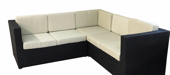 3 Piece Outdoor Wicker Sectional with Sunbrella Fabric