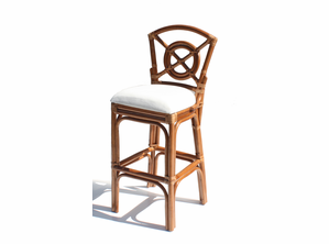 Bulls Eye Rattan Bar Stool