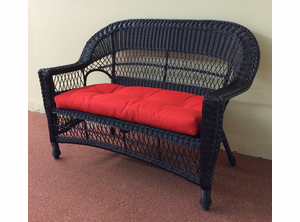 Cape Cod Black Resin Wicker Loveseat