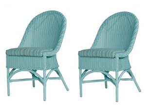 Coastal Wicker Side Chairs- Set of 2