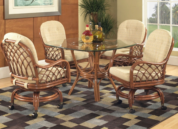 Grand Isle Rattan Swivel Dining Set