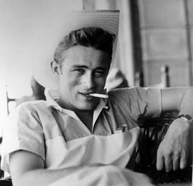 James Dean in Wicker Chair
